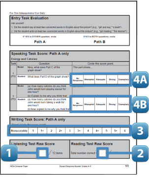 WIDA Screener Sample Scoresheet