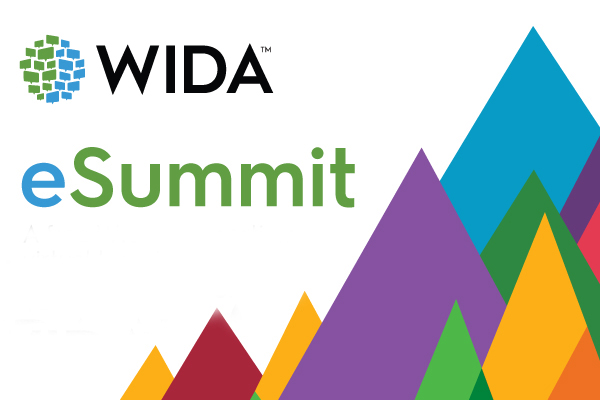 graphic of colorful mountain range with words WIDA eSummit