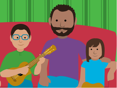 Illustrated graphic of father with daughter and son