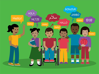 "illustrated graphic of children with thought bubbles above their heads with the word ""hello"" in multiple languages"