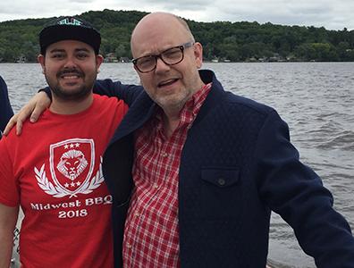 Sam Aguirre and Tim Boals aboard the Merrimac Ferry in 2018