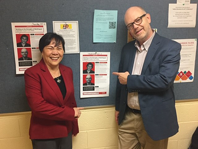 Diep and Tim at a 2018 International Consortium for Multilingual Education and Equity event.