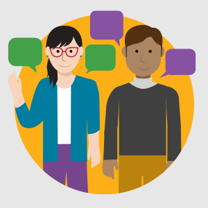 illustration of woman on left, man on right, purple and green speech bubbles around their heads