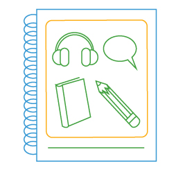 illustration of notebook with headphones, book, pencil and speech bubble
