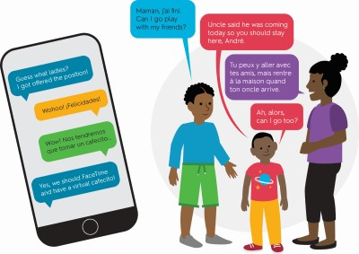 Image of a phone screen with a conversation in both English and another language, next to an image of three people conversing in English and another language as shown in speech bubbles