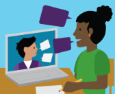 illustration of a woman talking with someone in a computer video chat
