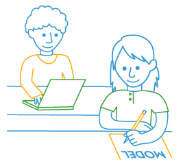 illustration of boy on laptop and girl writing on piece of paper with the word MODEL on the paper