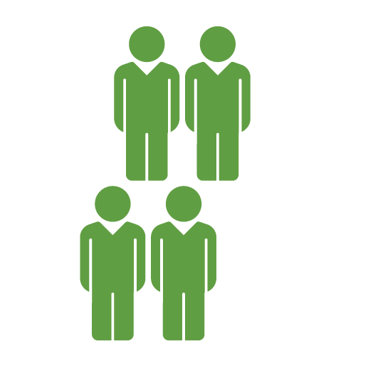 four green people and one white