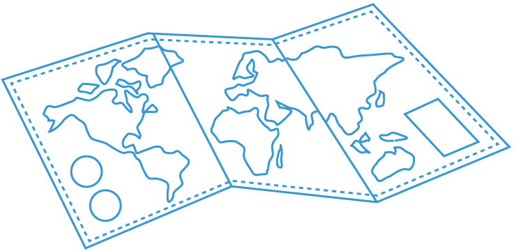 line drawing of world map unfolded