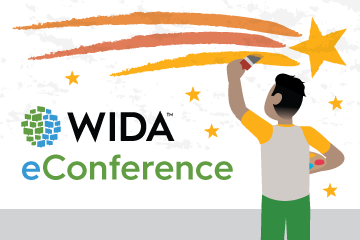 illustration of student painting a shooting star with words wida e conference