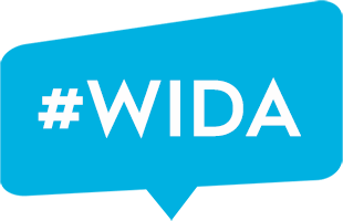 speech bubble with #WIDA