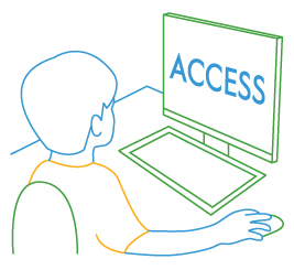 line drawing of student at computer with access screen