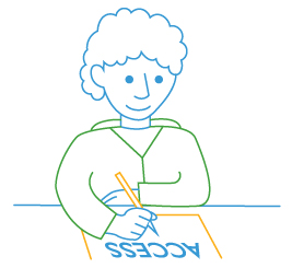 line drawing of student at desk with paper access test