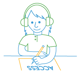 line drawing of student with headphones and paper access test