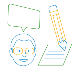 line drawing of head with speech bubble and pencil with paper
