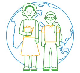 line drawing of teacher and student in front of globe