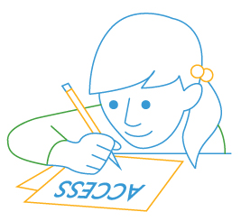 line drawing of young student with paper access test
