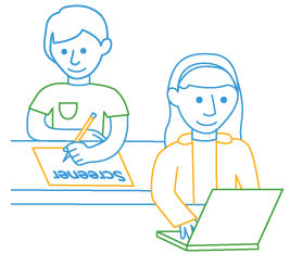 line drawing of two students taking online and paper test