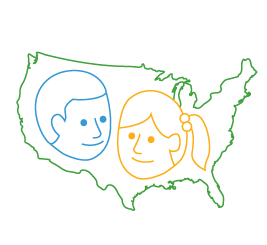 line drawing united states with two child faces