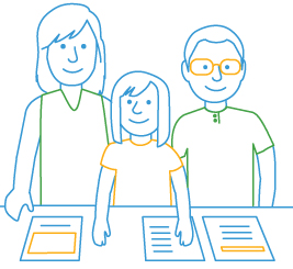 line drawing of family and handouts