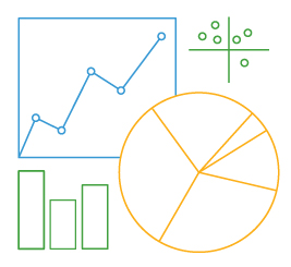 line drawing of charts and graphs