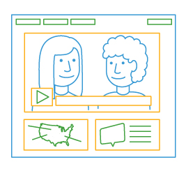 line drawing of video player screen