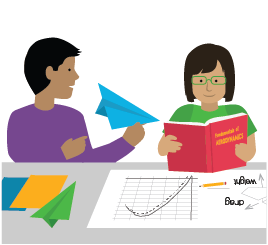 illustration of two students with a variety of materials that represent paper airplanes