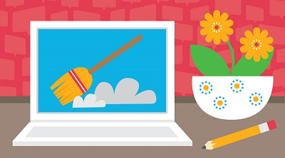 WIDA Spring Cleaning graphic with a laptop and flowers